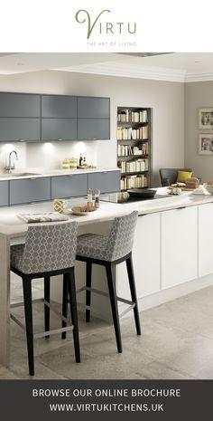 Expression Contour True White and Matte Pewter. Contemporary Kitchen Design #VirtuKitchens