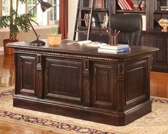 Double Pedestal Executive Desk - Large Home Office Furniture Check more at http://michael-malarkey.com/double-pedestal-executive-desk/