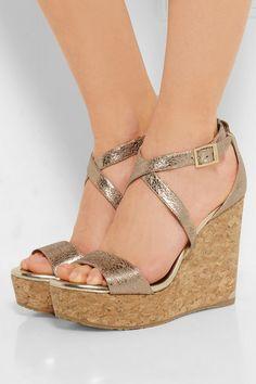 Jimmy Choo   Portia metallic cracked-leather wedge sandals   NET-A-PORTER.COM