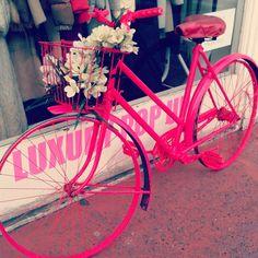 The return of the pink bike! Redistributing Fashion Luxury Pop Up Shop - Feb 2013 Pink Bike, Pop Up, Events, Luxury, Chic, Fashion, Shabby Chic, Moda, Elegant