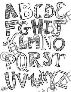 Digital Download Uppercase Letters Coloring by EverettandEloise