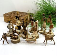 This Nativity set is handcrafted out of banana fiber and comes in a 5 by 7 inch handmade banana fiber box Handmade in Kenya by Esther Kariuki Esther Kariuki is