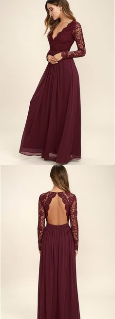 Backless Lace Prom Dress,Long Sleeve Prom Dress,Custom Made Evening Dress,17142