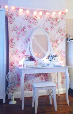 Floral wall and white vanity