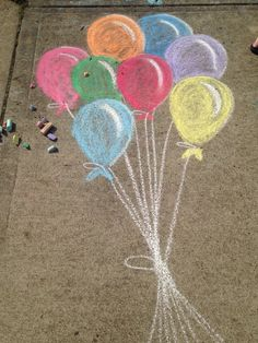 Ballons Bürgersteigskreide #ballons #burgersteigskreide #chalkart