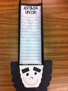 Love this - Writing about Abraham Lincoln in a craft with his tall hat! President's Day activity?!
