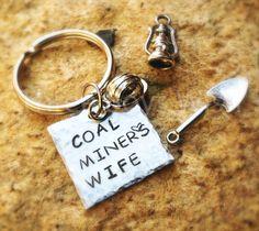 Coal Miners Wife Keychain Personalized Custom Hand Stamped by ThreeBoysWish #CoalMinersWife# #coalminerdaugther