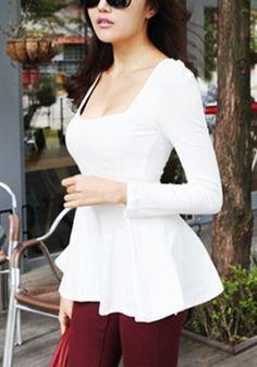 White Long Sleeve Peplum Top
