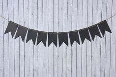 Black Chalkboard Pennant Banner Swallowtail, 10 Piece Garland Bunting, 9 X 5.5 Inches - Creative Juice Cafe