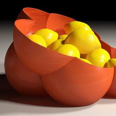 Make this fruit bowl the next addition to your kitchen. It was designed to hold oranges, lemons or similar fruits. [more pics on Cults website] Modele Impression 3d, 3d Printing Companies, 3d Printed Objects, Space Toys, Make A Donation, 3d Printer, Serving Bowls, 3 D, Bubbles