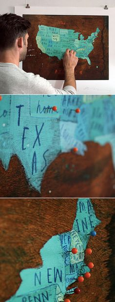 DIY? Hand painted map, pin where you've been...