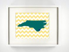 Wilmington, North Carolina State Giclée Print - 8x10 - Yellow and Green University Print - Perfect College Dorm or Apartment Decor!