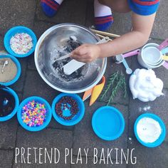 Pretend Play Baking •• sand + dirt + petals + beads + shaving cream + rosemary + water + flour & lots of measuring spoons, cups & utensils | @oliviasfoster