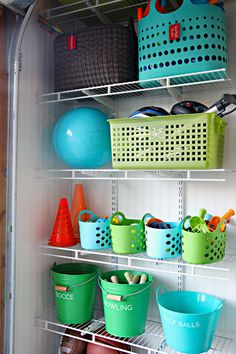 Could work with storing items in our shed and garage - Outdoor Toy Organization for garage | IHeart Organizing