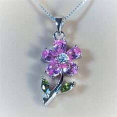 """Sterling Silver Clear CZ, Peridot and Pink Flower Pendant Necklace, 18"""""""