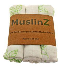 Muslinz Luxury Bamboo/Organic Cotton Muslin Squares (70 c…