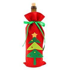 Hoomall 1PC Housse de Vin Couverture Bouteille de Vin Sapin Arbre Noël Rouge: Taille : 32.5x14cm Idéal pour la décoration de Noël ou cadeau…