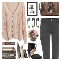 """""""You make me smile..."""" by bleucabbage ❤ liked on Polyvore featuring J Brand, Tim Holtz, Franco Sarto, Valentino, Home Decorators Collection, Burt's Bees and Americanflat"""