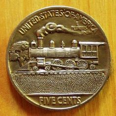 Ron Landis - Steam Engine - Carving #200 Hobo Nickel, Coin Art, Coin Jewelry, Steam Engine, Beading Supplies, Art Forms, Sculpture Art, Buffalo, Stamps