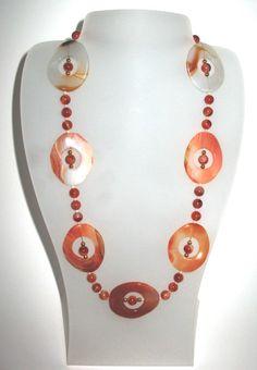 Schöne Collier in Karneol Korallen Perlen AAA und von CastroRoemer