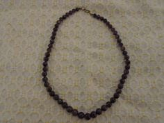 Amethyst Glass Bead Necklace | eBay