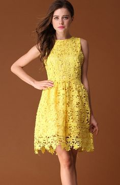 Yellow Sleeveless Back Zipper Lace Dress - Sheinside.com love the lacey hem