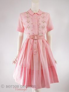 Vtg late 50s or early 60s Embroidered Pink Cotton Full Skirt Shirtwaist Day Dress - sm by Better Dresses Vintage