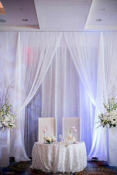 Ideas para decorar la mesa de los novios en el banquete de bodas.