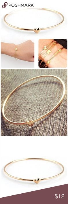 Gold Plated Heart 💜 Bracelet ♥️ Nwt dainty and sophisticated heart shaped bangle. Perfect alone or for layering Jewelry Bracelets