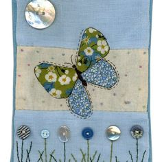 fabric butterfly & button flowers by Sharon Blackman Freehand Machine Embroidery, Free Motion Embroidery, Free Machine Embroidery, Embroidery Applique, Applique Stitches, Sewing Appliques, Applique Patterns, Applique Designs, Fabric Cards