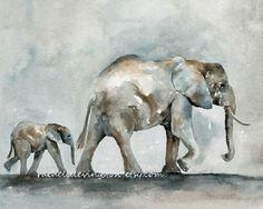 watercolor art for Baby Elephant PRINT nursery art by rachellelevingston