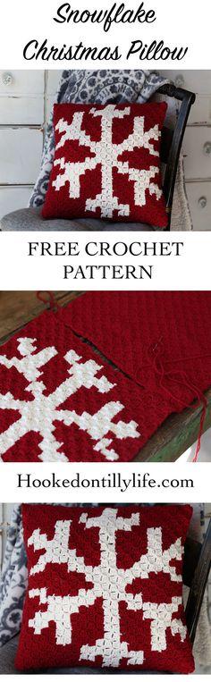 Corner to Corner Crochet Snowflake Pillow - Free Crochet Pattern — Hooked On Tilly Crochet Pillow Pattern, C2c Crochet, Crochet Mittens, Crochet Home, Free Crochet, Irish Crochet, Crochet Blankets, Crotchet, Crochet Angels