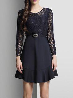 Navy Blue Long Sleeve Plain A-line Mini Dress Stylewe