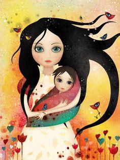 Mother and baby, mother art, arte digital, pintura graffiti, illustration a Art And Illustration, Illustrations, Mother Art, Mother And Child, Pintura Graffiti, Art Amour, Art Fantaisiste, Art Mignon, Social Art