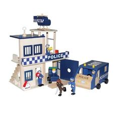 WOODEN POLICE STATION  comes with:  Police Station  1 x Police Station  1 x Helicopter  1 x Paddy Wagon  1 x Squad Car  4 x Police Dolls  1 x Robber Doll