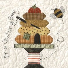 Honey Bee Lane Quilt Block of the Month or All at Once - Starts . Small Quilts, Mini Quilts, Quilting Projects, Sewing Projects, Applique Quilt Patterns, Applique Cushions, Applique Designs, Bee Creative, Bee Art