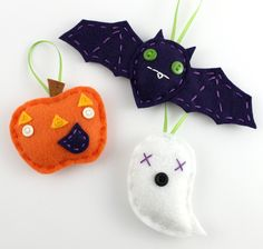 Halloween Felt Ornament Set Bat Pumpkin Ghost Cute Embroidery Eco Friendly Orange Purple.  via Etsy.