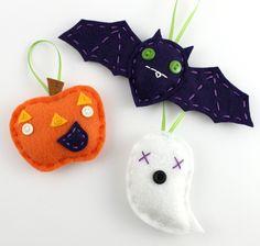 Halloween Felt Ornament Set Bat Pumpkin Ghost Cute Embroidery Eco Friendly Orange Purple. via Etsy.