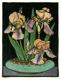 "William Seltzer Rice: ""Bert's Iris"", circa 1920; color woodcut."