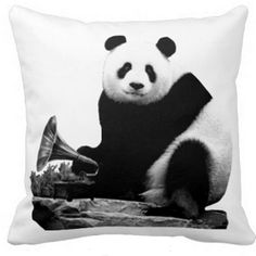Panda with a gramophone; what more could you want on a big puffy cushion? Find this and other cool panda products at www.pandathings.com