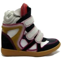 """This pair of willow high top Isabel Marant sneakers is revealing outstanding beauty which features a multi colors in red, black, pink, yellow, and white, colorful but not random. Featuring hook & loop closure to the ankle high, and soft suede, genuine leather upper materials, round toe cap, giving a gorgeous look for your outing day. 3.5"""" hidden wedge heels are leading the fashion trend. With the padded material overly cutouts to the ankle, every wearer will get a comfortable feeling."""