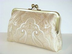 White Gold Clutch-Silk Clutch-Brocade-Bridal Clutch-Wedding Clutch-Bridesmaid Clutch-Bridesmaid Gift