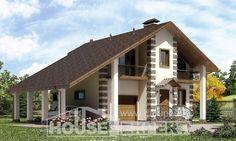 150-003-Л Проект двухэтажного дома с мансардой, гараж, бюджетный загородный дом из газобетона
