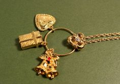 Avon Tender Memories Charm gold tone necklace and by FrogTears