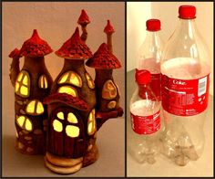 Hello, in this tutorial I show you how I made a fairy house lamp using nothing but coca cola plastic bottles, tin foil, paint, hot glue and paper clay