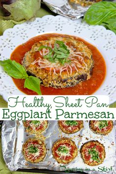 Sheet Pan Eggplant Parmesan – no fry but still crispy! This Eggplant Parmesan Baked Sheet Pan is a simple, easy and healthy vegetarian dinner idea. This Sheet Pan Eggplant Parm is topped with tomato sauce, cheese and basil and is the perfect healthy twist to classic Italian eggplant parmesan. Low Carb with no pasta. Clean Eating / Running in a Skirt #vegetarian #vegetariandinner #lowcarb Baked Eggplant Slices, Tomato Sauce Recipe, Eggplant Parmesan, Sheet Pan, Holiday Recipes, Food To Make, Main Dishes, Fries, Clean Eating
