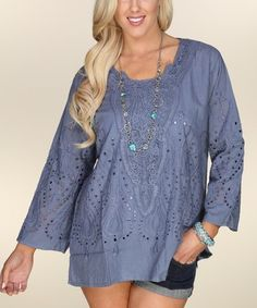 Another great find on #zulily! Charcoal Pointelle Three-Quarter Sleeve Tunic - Women #zulilyfinds