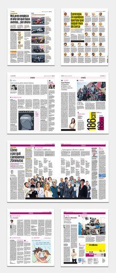 Proyecto gráfico, rediseño y nueva identidad gráfica del diario gratuito español 20 Minutos. Editorial Design Magazine, Magazine Design Inspiration, Page Design, Book Design, Layout Design, Newspaper Layout, Newspaper Design, Fashion Journalism, Magazine Spreads