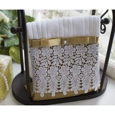 white Textured bath towel with gold and white lace trim and gold ribbon accent. Guest Towels, Hand Towels, Tea Towels, Bathroom Towel Decor, Bathrooms Decor, Bed Cover Design, Towel Crafts, Luxury Towels, Decorative Towels