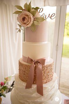 Rose gold mauve ivory ruffle and sugar rose Poppy Pickering wedding cake photo credit: Sarah Bruce photography